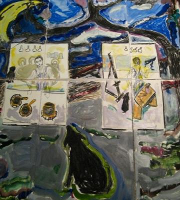 Self Portrait Kitchen/Studio (nine panels) 66x60