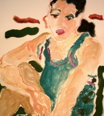 "Rebecca Seated in Green 28"" x 22"""