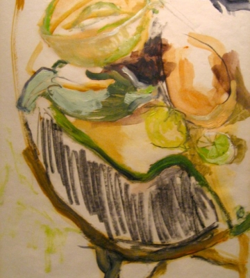 """Still Life - Cantlope and Squash<br />24""""x17.5"""""""