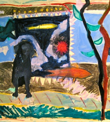 Waiting for Spring with Black Dog c. 52x70