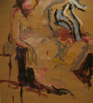 Seated Figure with Blue Striped Tobe 48x33.5
