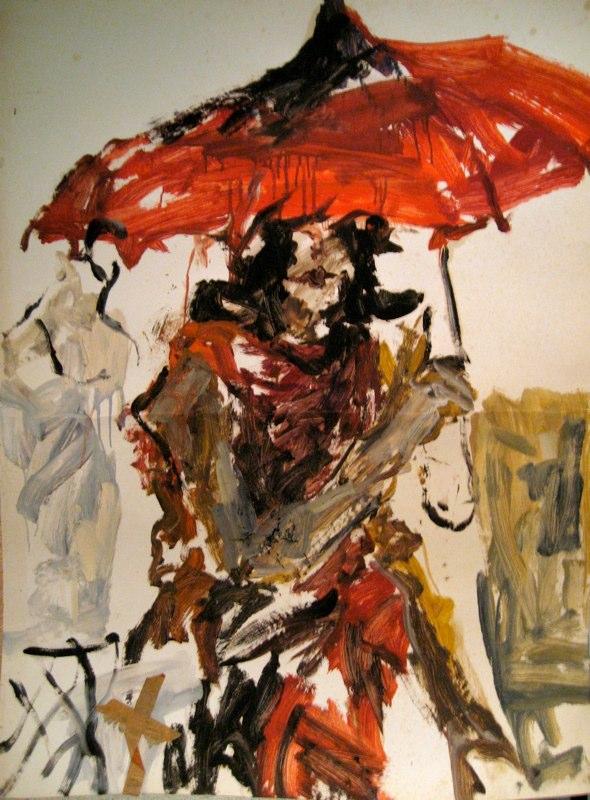 Red Umbrella 46.5x35