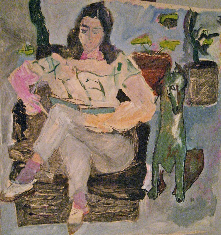 """Figure Reading with Green Dog<br />SOLD 54"""" x 52"""""""