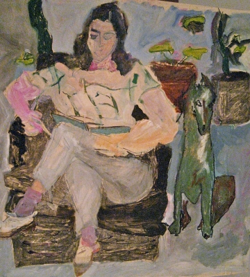 "Figure Reading with Green Dog<br />SOLD 54"" x 52"""