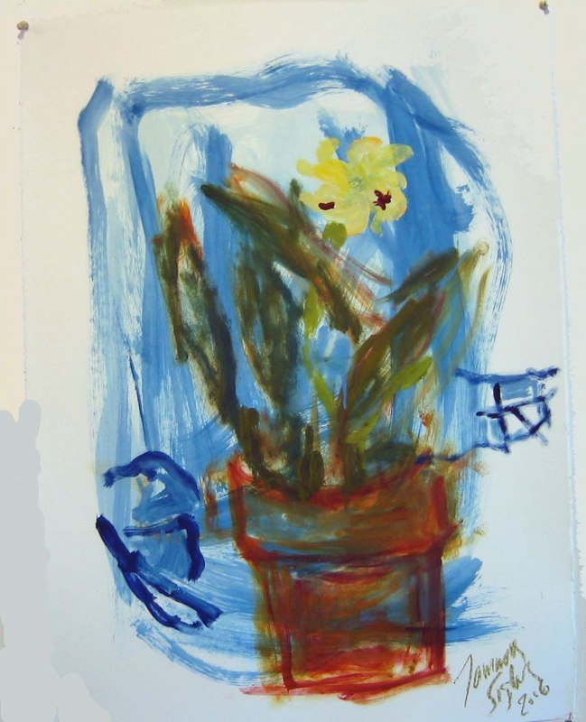 Cattleya on Blue