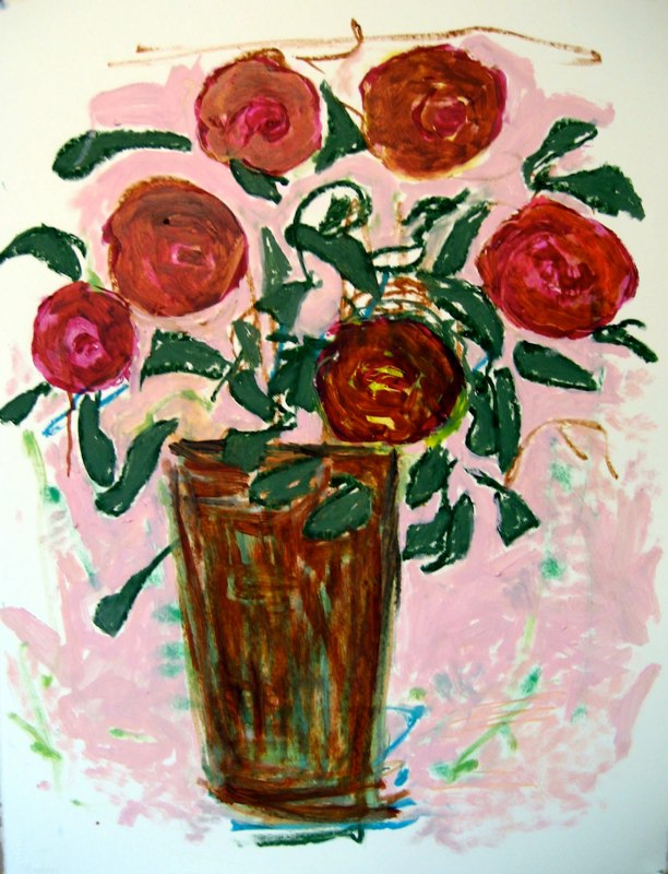 Red Roses and Floating Leaves