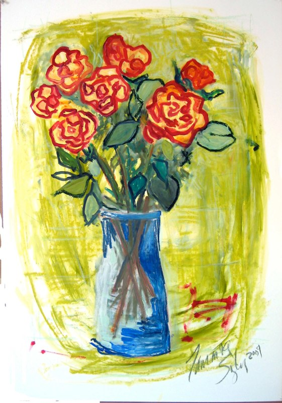 Red Tipped Yellow Roses on Wasabe