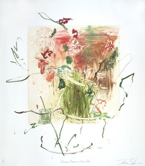 Summer Flowers in Green Pot