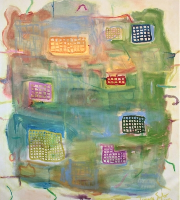"Gizmos on Green SOLD 56"" x 47"""