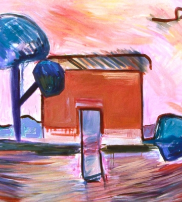 Shelter with Sculpted Trees 60 x 65