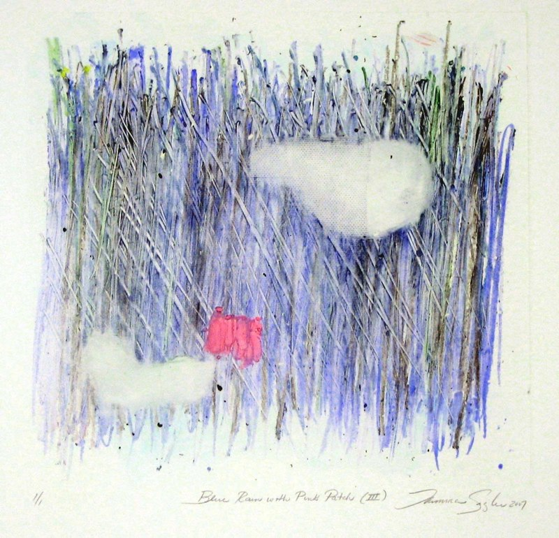 Blue Rain with Pink Patch III