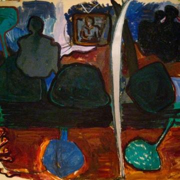 Sculpture Garden-News of Lybia oil/mm/paper 60x52 1986