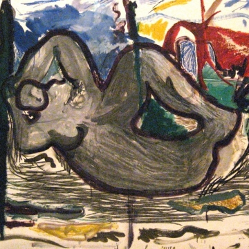 "Sculpture Garden - Henry Moore Reclining 43.5""x60""<br /> 1986 oil/mm/paper"