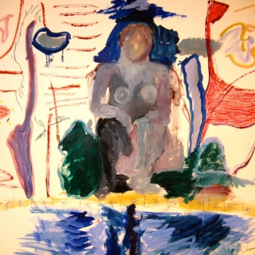 Sculpture Garden with Pool 49x60 1986 oil/mm/paper