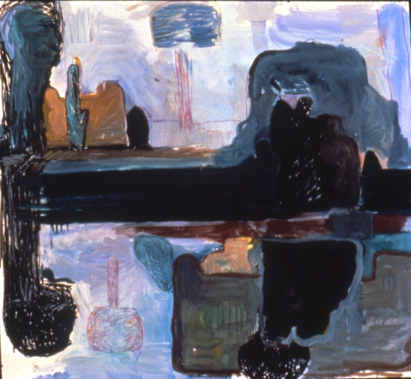 Sculpture Garden with Mother and Child Oil/mm/paper 1986 59x64