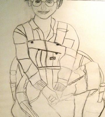I'll Draw You if You'll Draw Me I 30x26 drawing by Jeremy Sigler charcoal/paper c. 1977