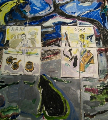 Self Portrait Kitchen/Studio (nine paper panels) 66x60 mixed media/paper