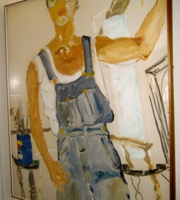 Self Portrait with Paint Brushes oil/mm/paper c. 1980 53x45