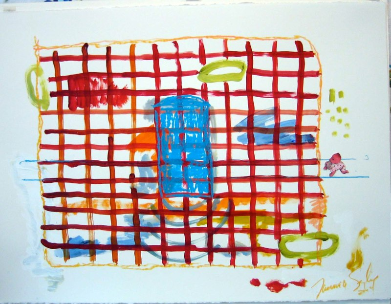 Playhouse - Red Brick Blue Door 22 x 30