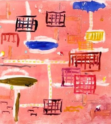 Neighborhood with Blue Cloud I 24x22