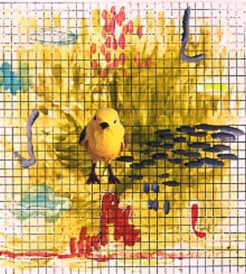 Grid with Yellow Bird 24X22
