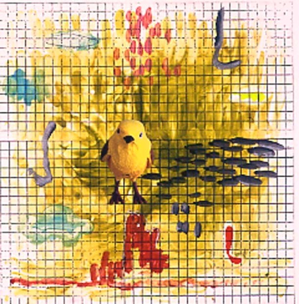 Grid with Yellow Bird